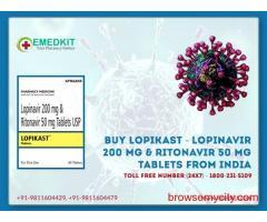Buy Lopikast - Lopinavir 200 mg & Ritonavir 50 mg Tablets from India - Emedkit