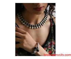 Buy silver necklace online at best price from Chokha Haar