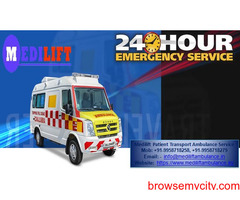 Get Medilift Ventilator Ambulance Service in Tata Nagar for ICU patient Transfer at Low Cost