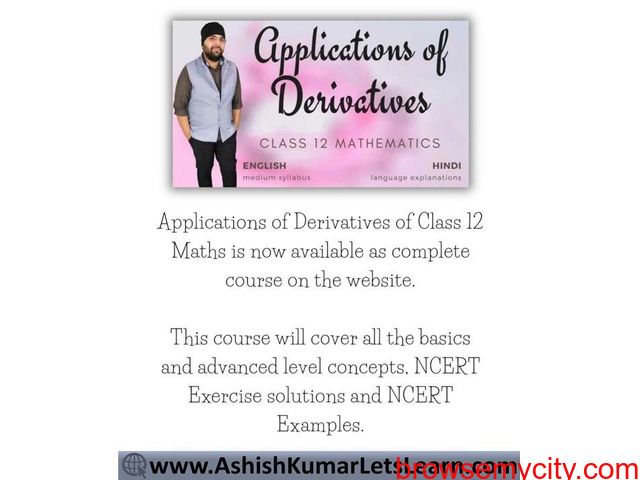 Online Course for Applications of Derivatives Class 12 Maths - 1/1