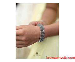 Shop designer silver Hand Kada for girls online at low price