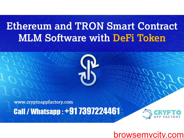 Ethereum and TRON Smart Contract MLM Software with DeFi Token-Crypto App Factory - 1/1