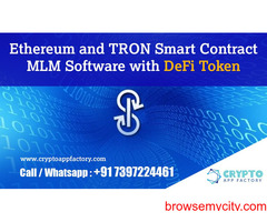 Ethereum and TRON Smart Contract MLM Software with DeFi Token-Crypto App Factory