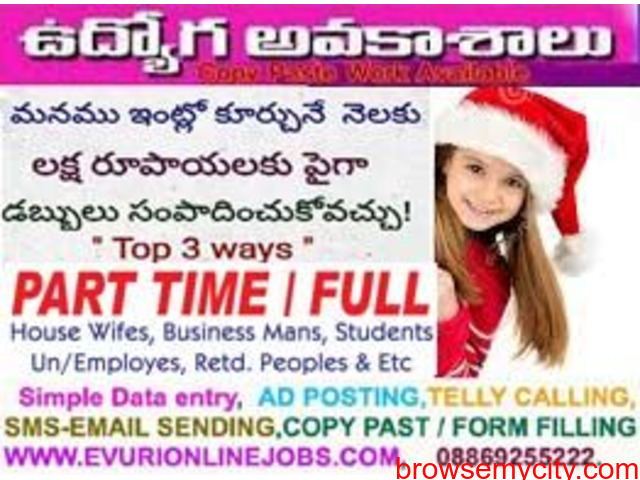Part Time Home Based Data Entry Work / Home Based Copy Paste Form Filling Job - 1/1