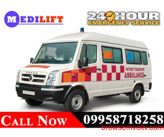 Use Medilift Road Ambulance Service in Chutia, Ranchi with Best Medical Team