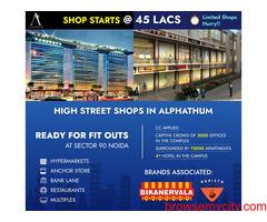 Few left, book your retail shops at Alphathum Noida. 9266850850