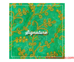 Buy Kelly Green Organza Fabric  With Thread and Floral Embroidery at  SIGNATURE Groom and Bride