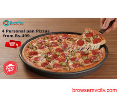 4 Personal pan Pizzas from Rs.499