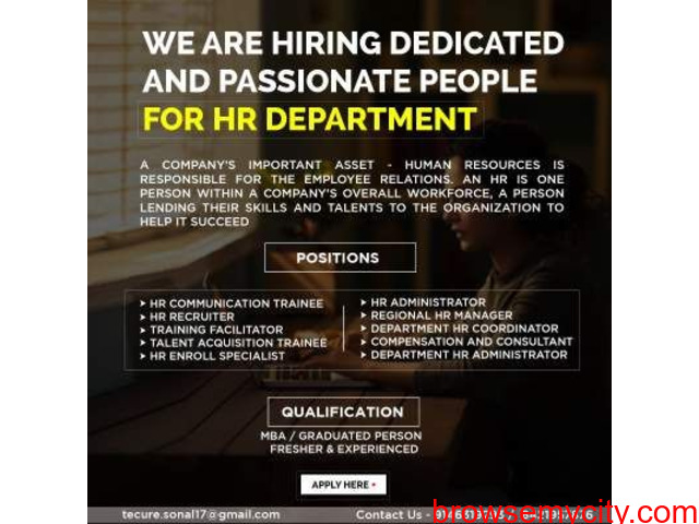 We are hiring dedicated and passionate people for HR Department - 2/2