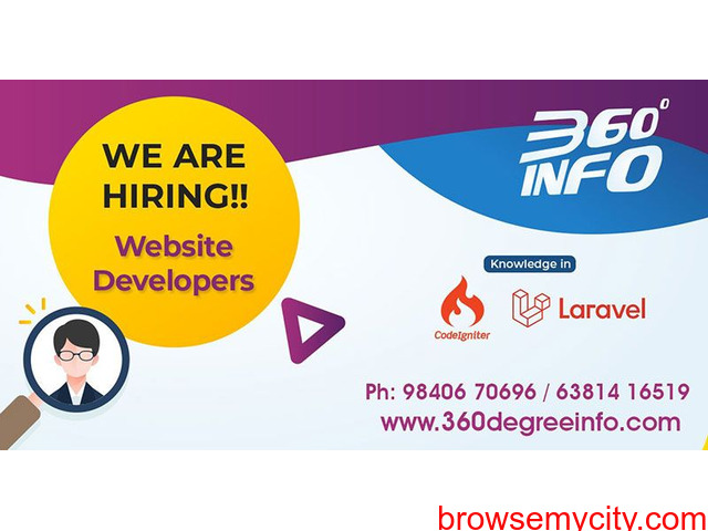 We are hiring for a Web/PHP (laravel or Codeigniter) developer - 1/1