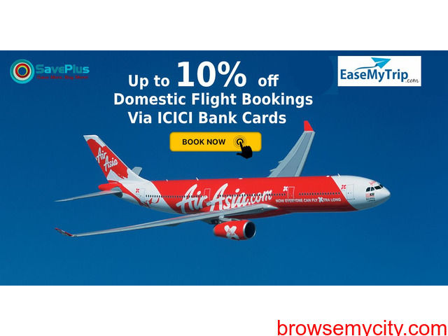 EaseMyTrip Coupons, Deals & Offers: Up to 10% off Domestic Flight Bookings Via ICICI Bank Cards - 1/1