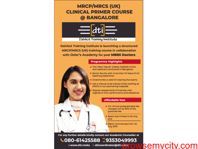 MRCP, MRCS Clinical Primer Course in Bangalore - 1/3