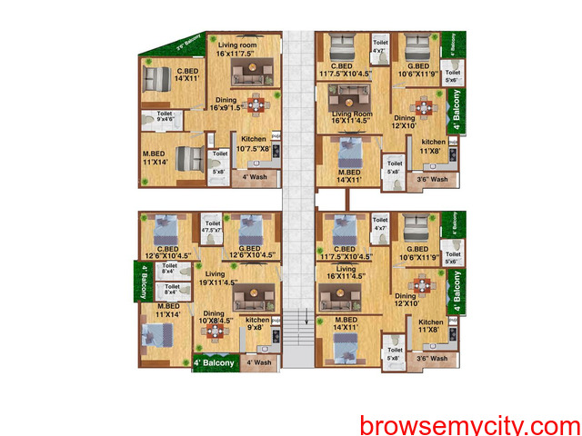 Pre-Launch offer on Residential Flats at NIZAMPET Main road facing Apartment, Hyderabad. - 2/3