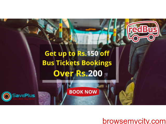 Redbus Coupons, Deals & Offers: Get up to Rs.150 off Bus Tickets Bookings over Rs.200 - 1/1