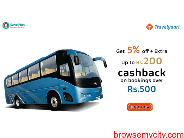 Get 5% off + Extra Up to Rs.200 cashback on bookings over Rs.500 - 1/1