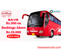 RedBus Coupons, Deals & Offers: Save Rs.300 on Bookings Above Rs.10,000