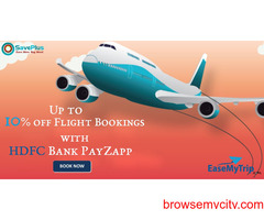 Easymytrip coupons, offers: Up to 10% off Flight Bookings with HDFC Bank PayZapp