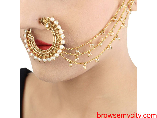 Buy Gold Plated Nose Rings Online | Stylish, Trendy & Fashionable - 1/6