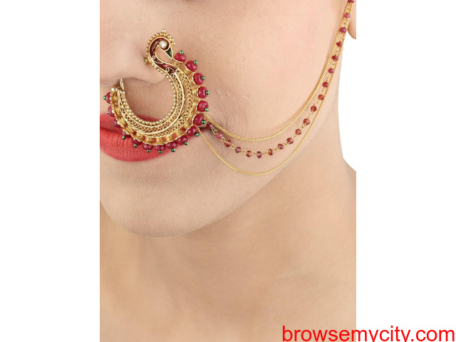 Buy Gold Plated Nose Rings Online | Stylish, Trendy & Fashionable - 2/6