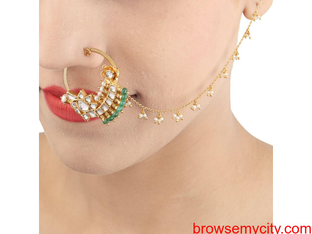 Buy Gold Plated Nose Rings Online | Stylish, Trendy & Fashionable - 3/6