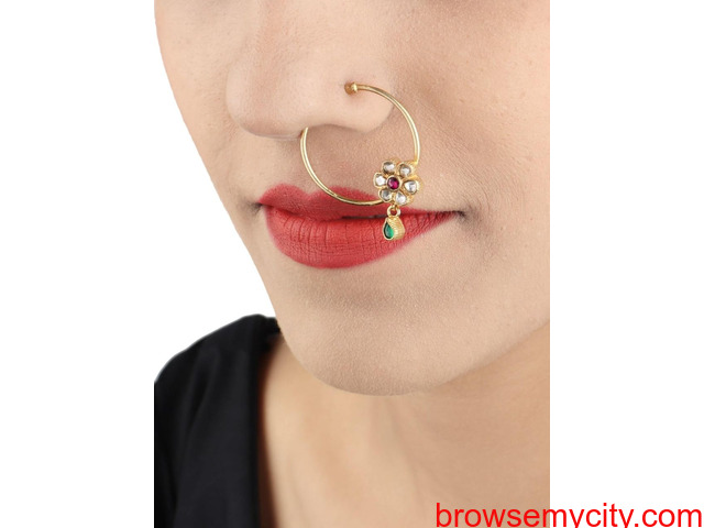 Buy Gold Plated Nose Rings Online | Stylish, Trendy & Fashionable - 4/6