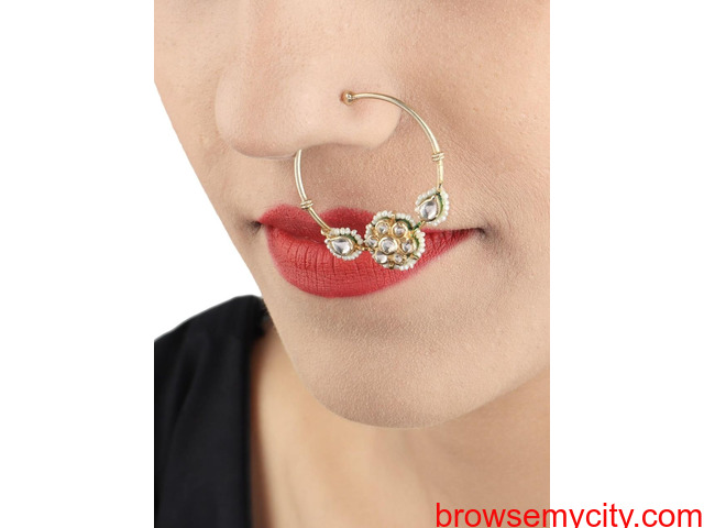 Buy Gold Plated Nose Rings Online | Stylish, Trendy & Fashionable - 6/6