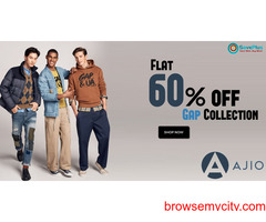 AJIO Coupons, Deals & Offers: Flat 60% off Gap Collection