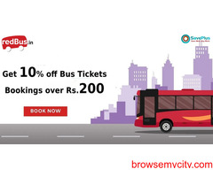 Redbus Coupons, Deals: Get 10% off Bus Tickets Bookings over Rs. 200