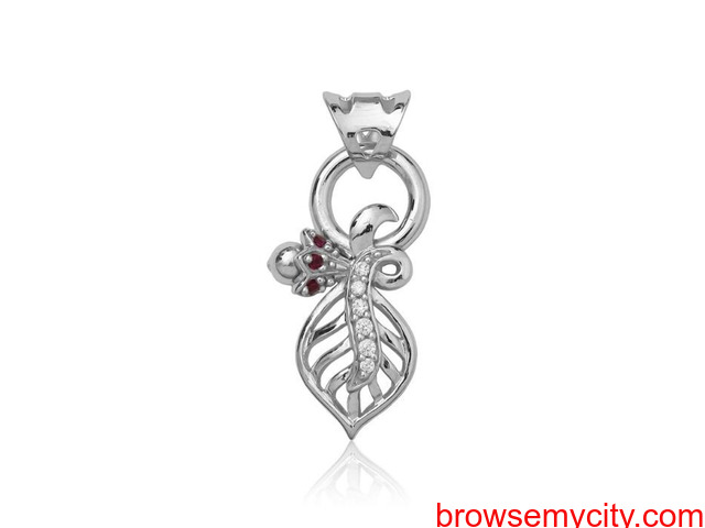 Buy Unique & Fancy silver pendant sets for women online - Arnia - 4/5