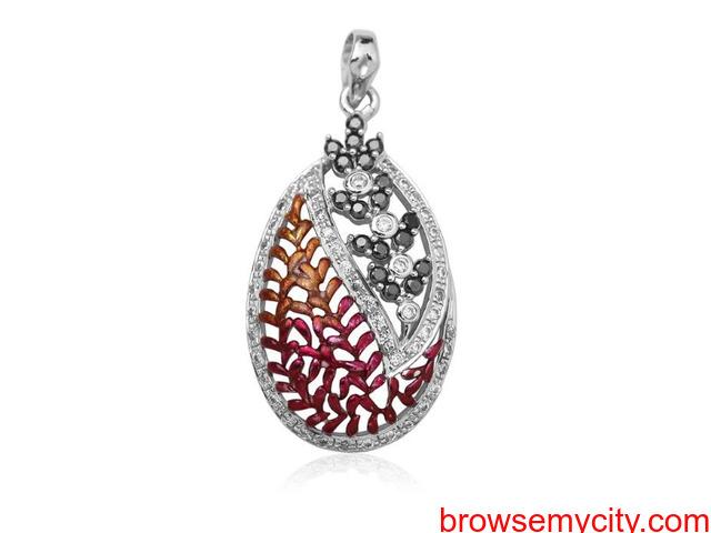 Buy Unique & Fancy silver pendant sets for women online - Arnia - 5/5