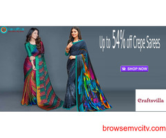 Craftsvilla Coupons, Deals & Offers:  Up to 54% off Crepe Sarees