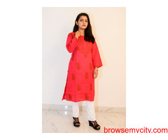 Buy Hand Embroidered Lucknowi Chikan Red Cotton Kurti :: onlinechikan