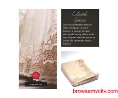 Cream shade tussar silk saree with full border twine Cutwork