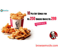 KFC Coupons, Deals, sales : 10 Pcs Hot Wings for Rs.250 Orders Above Rs.299
