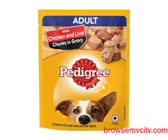 Buy Pedigree Wet Adult Dog Food Chicken & Liver Chunks 70gm, at Best Price in India
