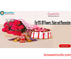 Flat 10% Off Flowers, Cakes and Chococolates