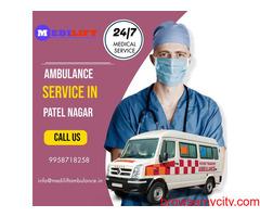 Cost Effective Ambulance Service in Patel Nagar by Medilift Ambulance
