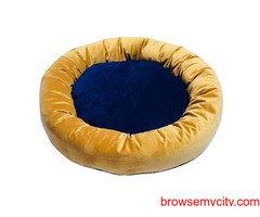 Buy Dog Bed Donut Shaped Velvet Water Repellent Yellow & Blue(S) at Best Prices in India