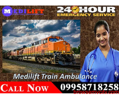 Get 24-Hours Available Medilift Train Ambulance in Varanasi with the Best ICU Setup