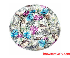 Buy Tropical Print Donut Shaped Bed for Dogs Blue & Pink (S) at Best Prices in India