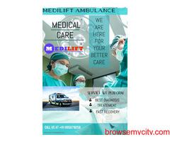 Medilift Ambulance Service in Kurji, Patna- Bed-to bed Transportation