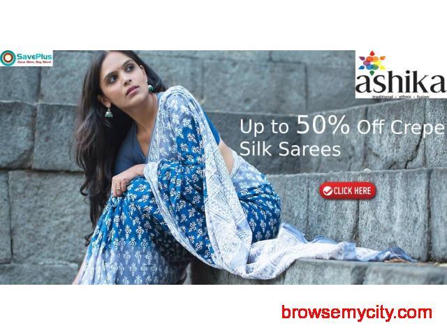 Up to 50% Off Crepe Silk Sarees - 1/1