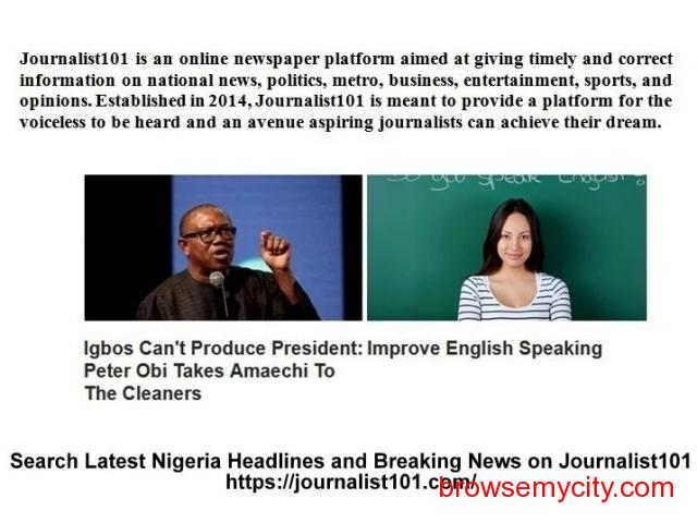 Search Latest Nigeria Headlines and Breaking News on Journalist101 - 1/1