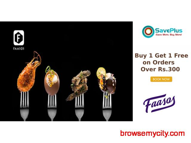 Faasos Coupons, Deals & Offers: Buy 1 Get 1 Free on Orders Over Rs.300 - 1/1