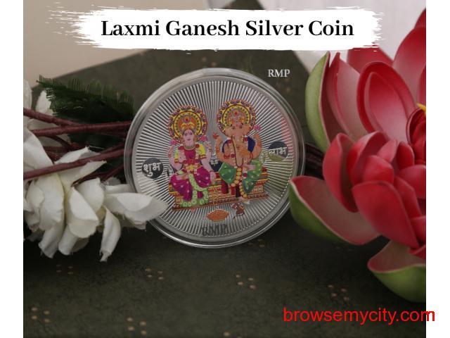 Buy Customized Laxmi Ganesh Silver Coins For Diwali - 1/1