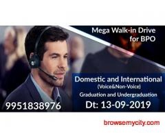 Mega Walk-In Drive for BPO Domestic and International Voice and Non-voice Process Hiring by Top MNC
